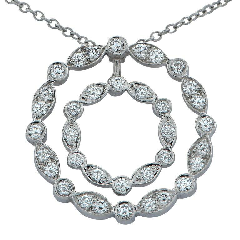 Tiffany & Co. Diamond Double Swing Diamond Platinum Pendant