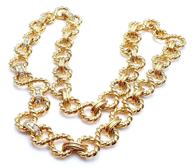 Women's or Men's Tiffany & Co. Diamond Figure Eight Rope Yellow Gold Link Necklace For Sale