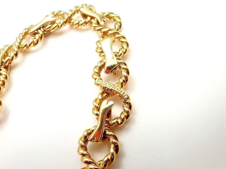 Tiffany & Co. Diamond Figure Eight Rope Yellow Gold Link Necklace For Sale 2