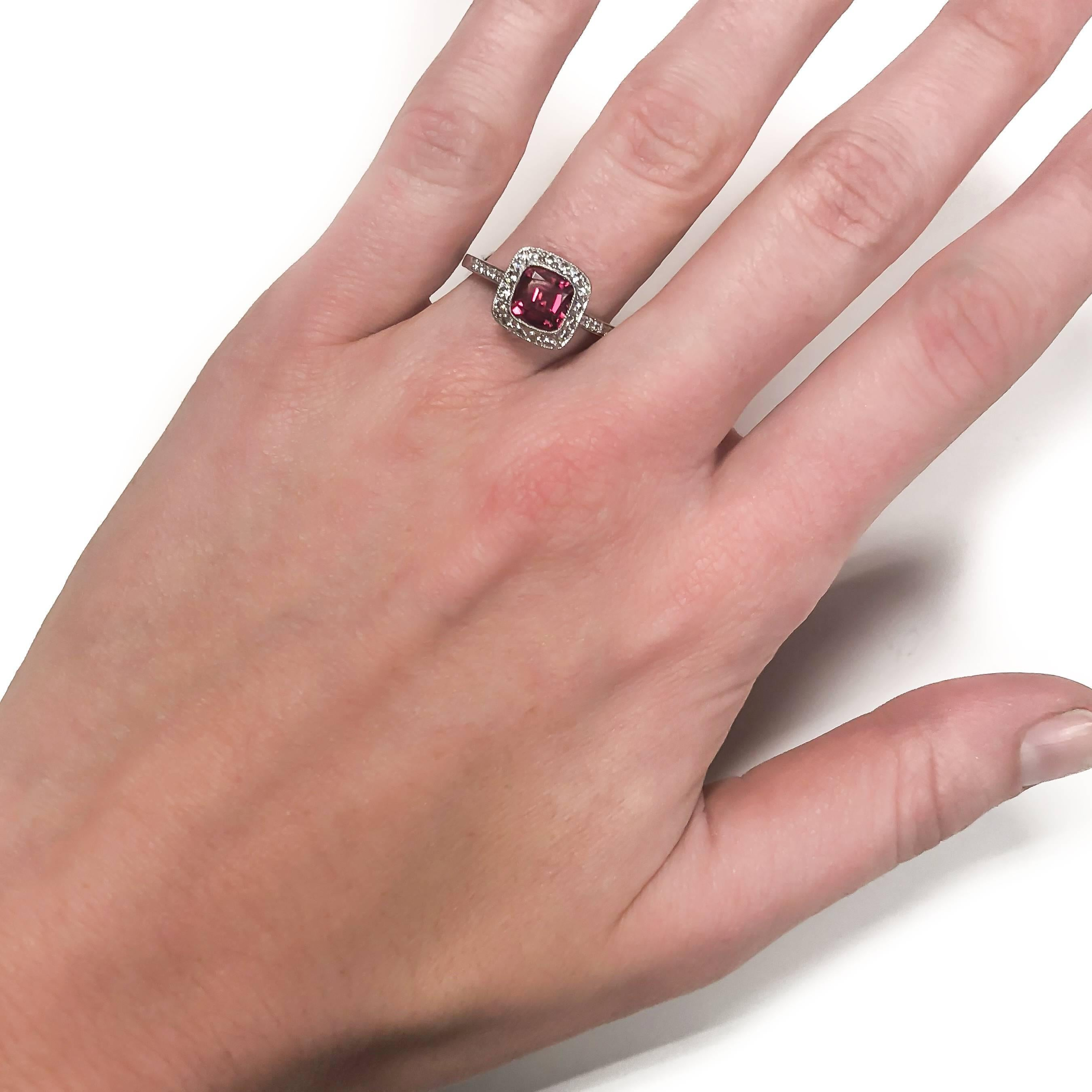 Tiffany and Co. Diamond Fine Rubellite Platinum Ring For Sale at 1stdibs