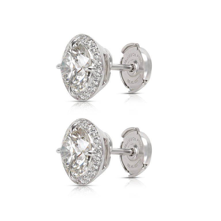 Modern Tiffany & Co. Diamond Halo Studs in Platinum 3.90 CTW For Sale