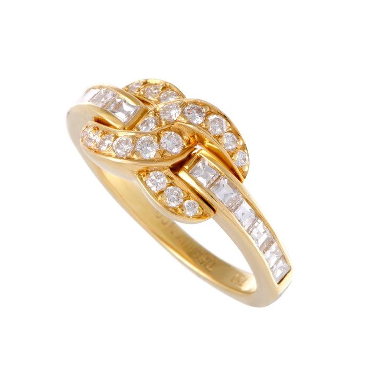 Tiffany & Co. Diamond Pave Interlocking Gold Ring