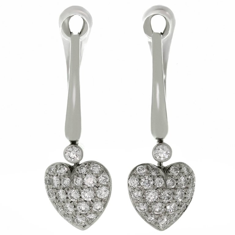 Tiffany & Co. Diamond Platinum French Heart Earrings