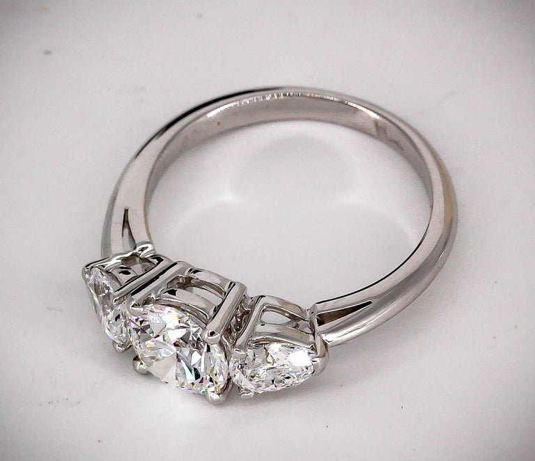 Tiffany & Co. Diamond Platinum Three-Stone Engagement Ring In Excellent Condition For Sale In New York, NY