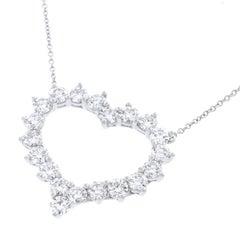 Tiffany & Co. Diamond Set Platinum Heart Necklace