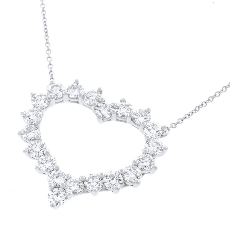Tiffany Co Diamond Set Platinum Heart Necklace