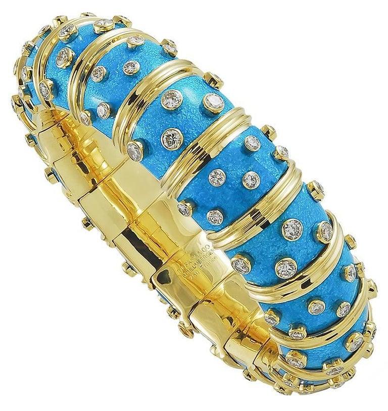 Tiffany & Co. Diamond, Light Blue Enamel Schlumberger Bangle