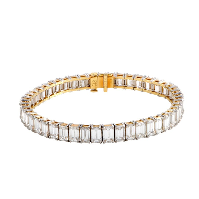 Tiffany Co Emerald Cut Diamond Platinum And Yellow Gold Tennis Bracelet For