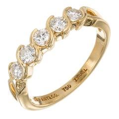 Tiffany & Co. Five Diamond Swirl Gold Wedding Band Ring