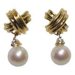 Tiffany & Co. Gold Cross Diamond Pearl Dangle Earrings