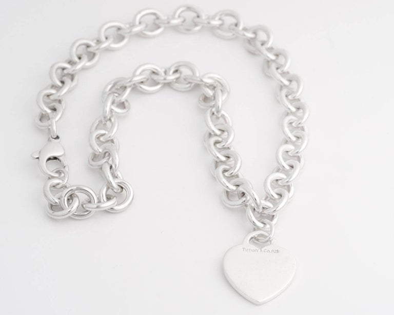Tiffany And Co Heart Charm Sterling Silver Choker