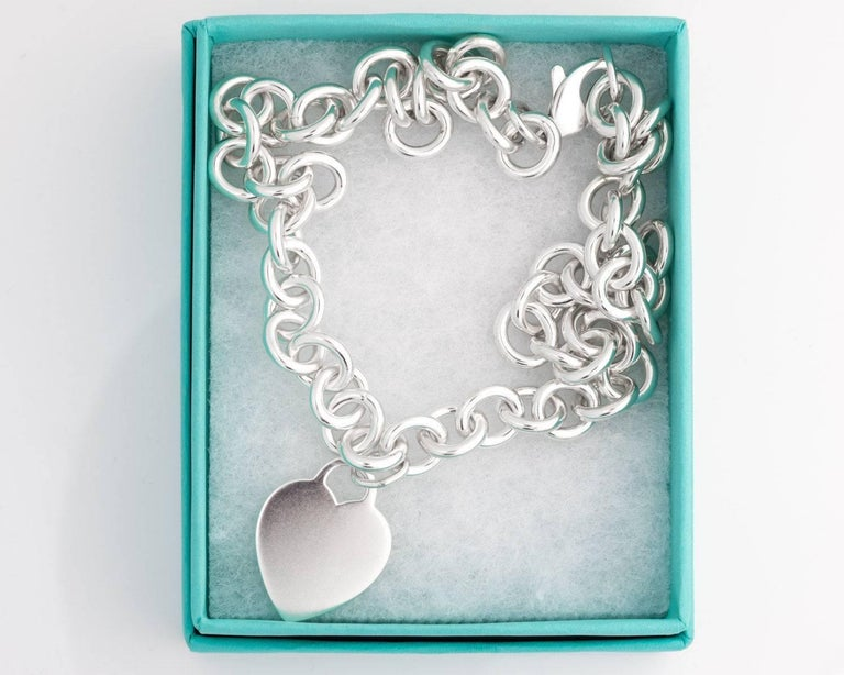 Modern Tiffany & Co. Heart Charm Sterling Silver Choker Necklace For Sale
