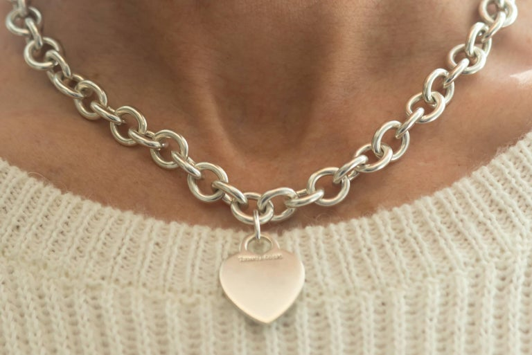 Tiffany & Co. Heart Charm Sterling Silver Choker Necklace For Sale 1
