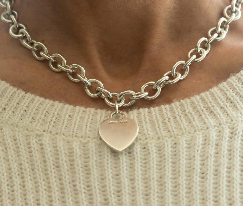 d6b81b4aaab13 Tiffany & Co. Heart Charm Sterling Silver Choker Necklace