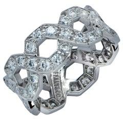 Tiffany & Co. Hexagonal Link Diamond Platinum Band