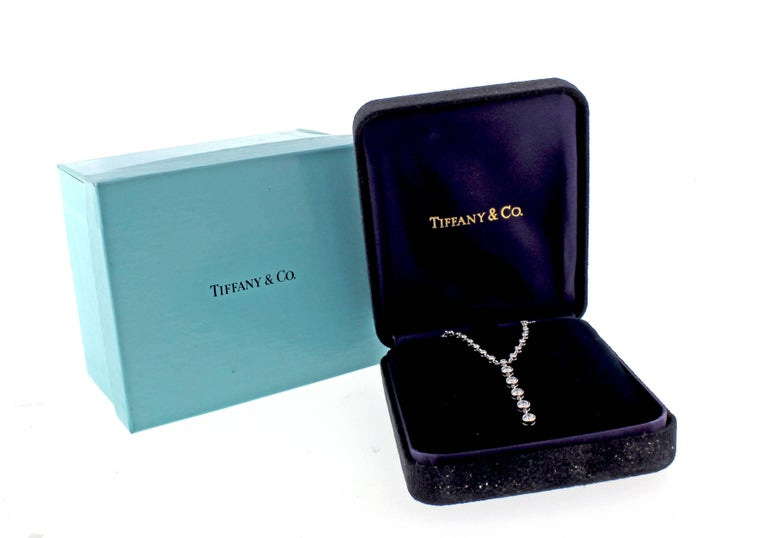 Women's or Men's Tiffany & Co. Jazz T-Drop Diamond Platinum Necklace For Sale