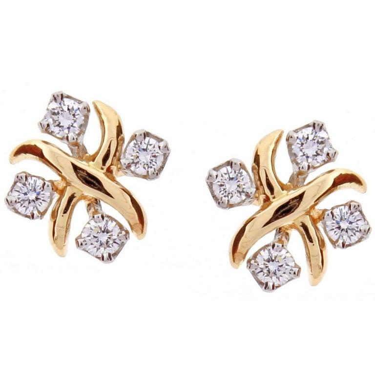 Tiffany & Co. Jean Schlumberger Lynn Diamond Pink Gold Platinum Earrings