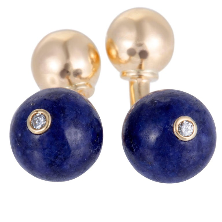 Tiffany & Co. Lapis Sphere and Diamond Gold Cufflinks