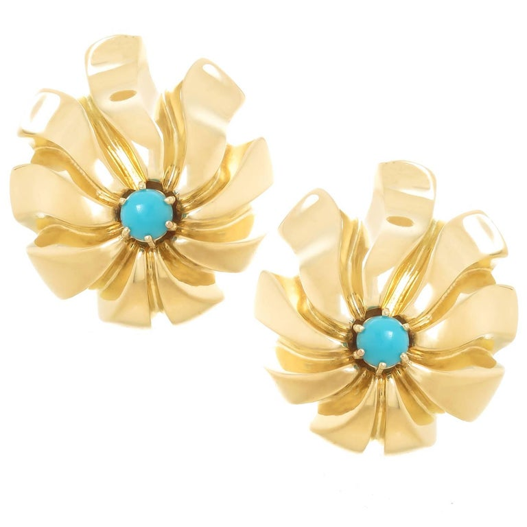 Tiffany & Co. Large Bold Yellow Gold and Turquoise Earrings