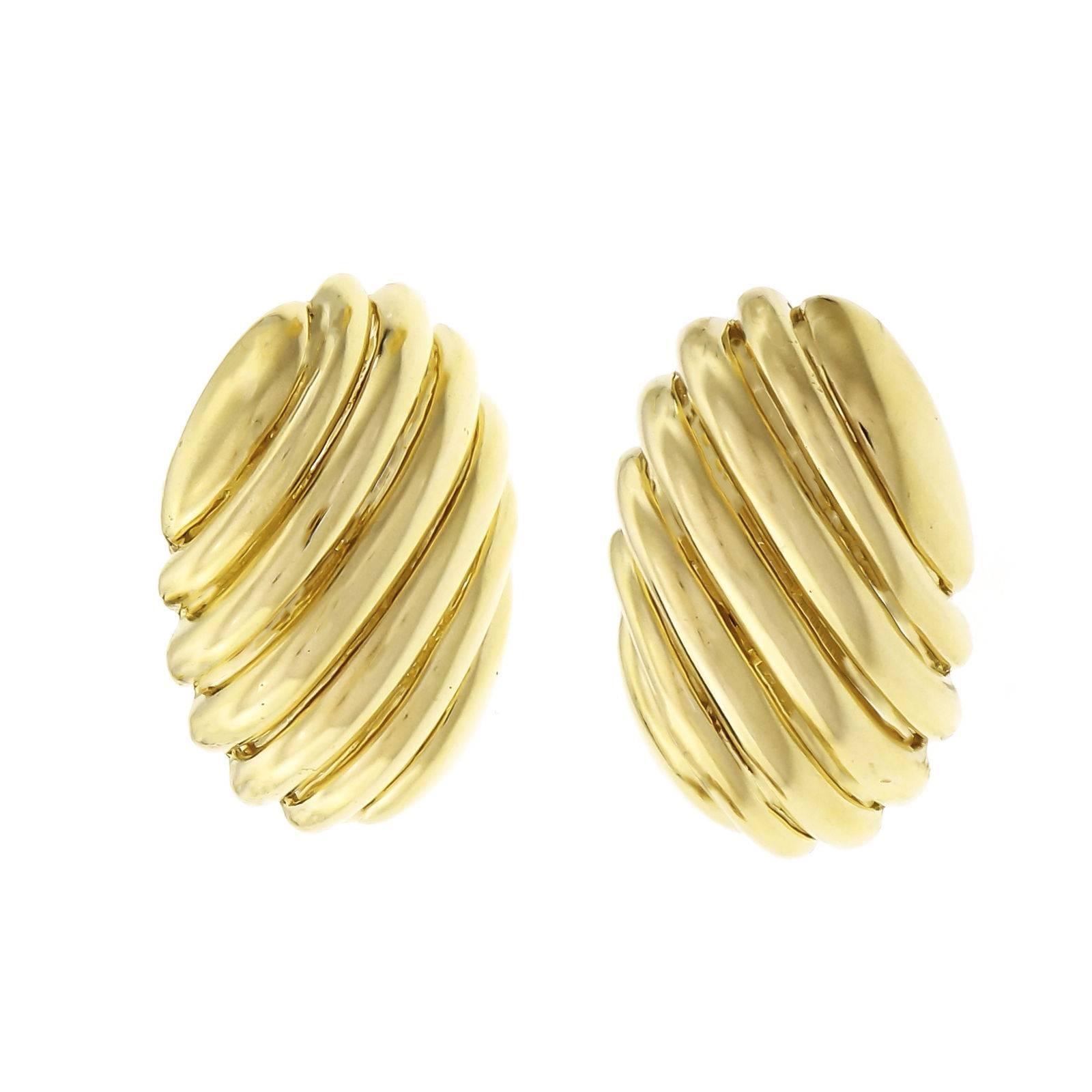 Tiffany & Co. Large Shrimp Gold Clip Post Earrings
