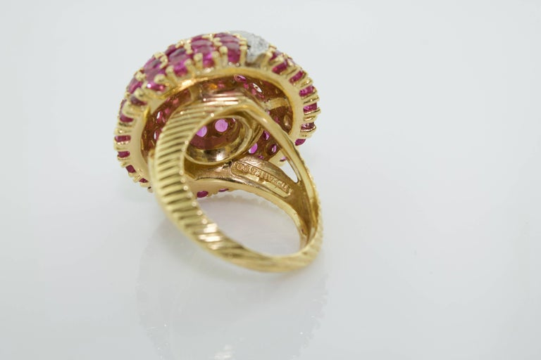 Tiffany & Co. Ruby and Diamond Dome Ring Circa 1940's .55 in Round Diamonds Color GH Clarity VVS-SI1 6.00 Carats of Round Rubies in 18 Carat Yellow Gold Ring Size 6.5 Purchased From a Renowned Hollywood Family Who Stipulated That They Remain