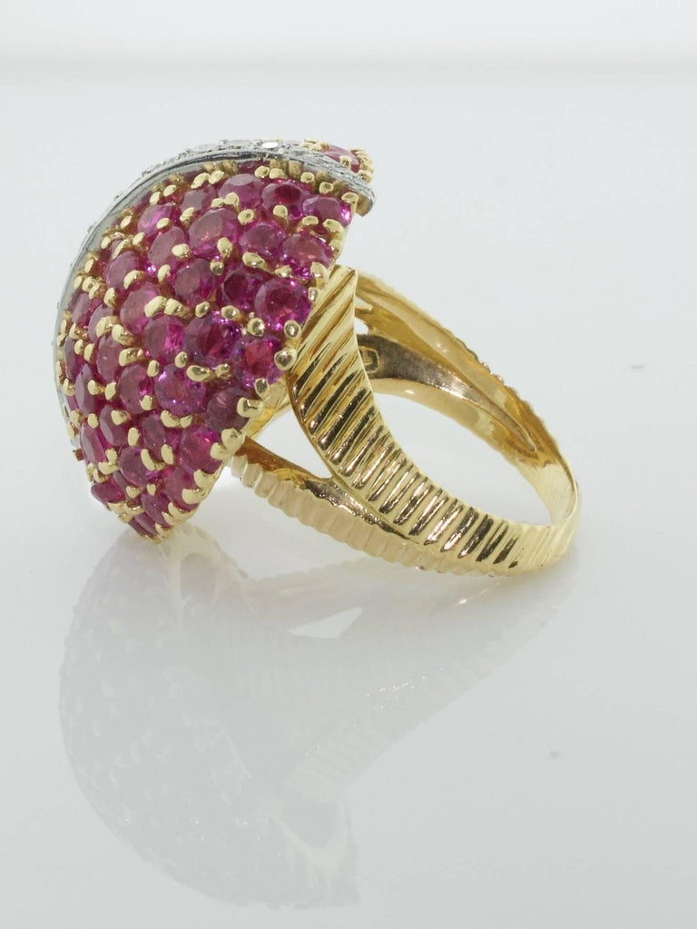 Modernist Tiffany & Co. Ruby and Diamond Dome Ring, circa 1940s For Sale