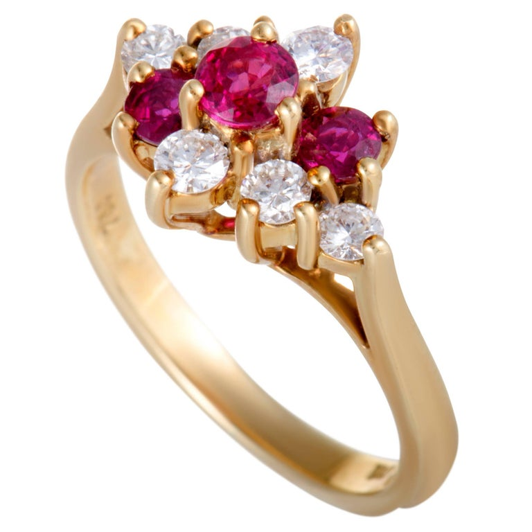 Tiffany & Co. Ruby and Diamond Gold Cocktail Ring