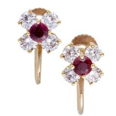 Tiffany & Co. Ruby Diamond Gold Screw Back Earrings