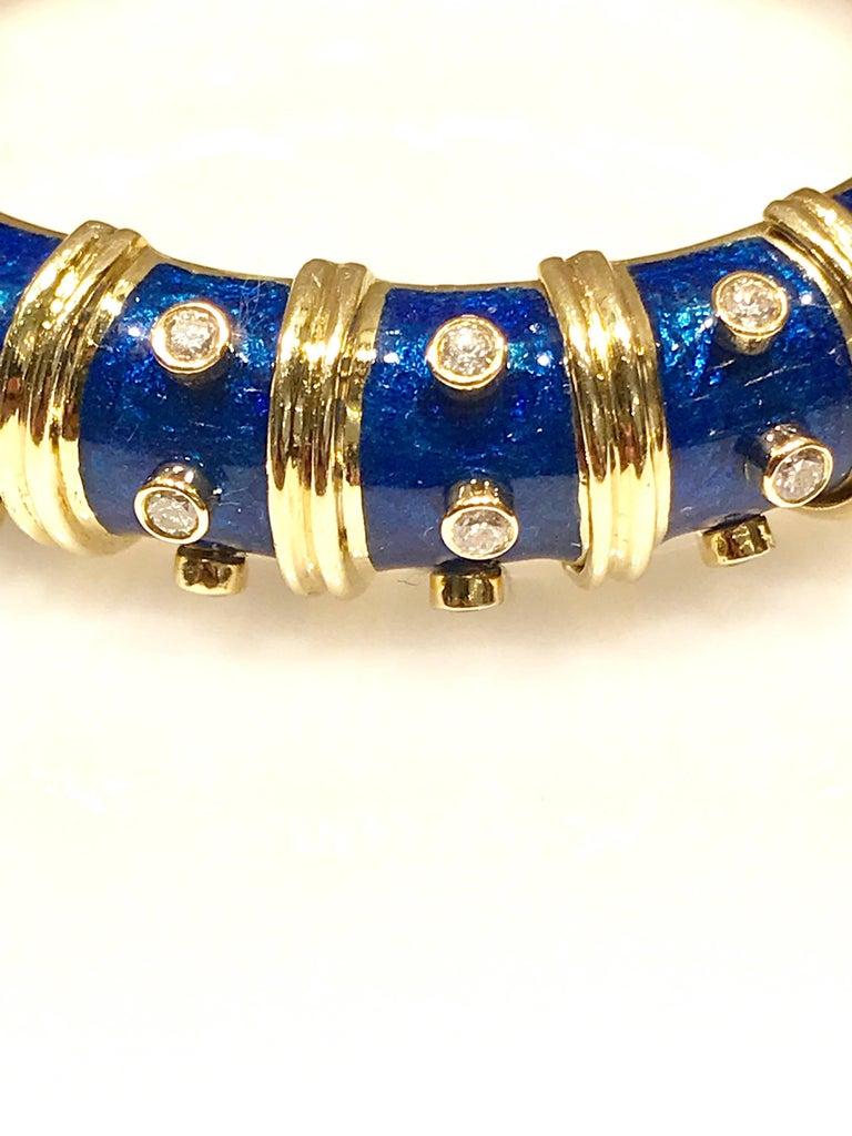 Modern Tiffany & Co. Schlumberger Blue Enamel and Bezel Set Diamond Bangle Bracelet For Sale