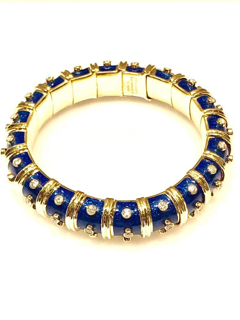 Round Cut Tiffany & Co. Schlumberger Blue Enamel and Bezel Set Diamond Bangle Bracelet For Sale