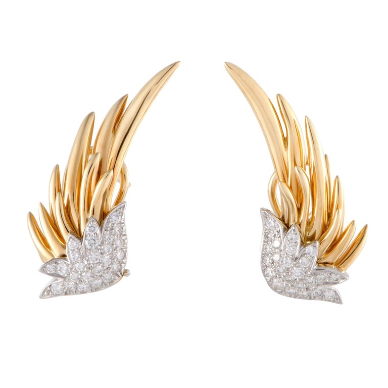 Tiffany & Co. Schlumberger Diamond Pave Gold and Platinum Flame Earrings
