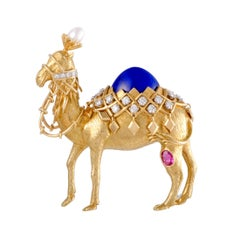 Tiffany & Co. Schlumberger Diamond Pearl Ruby and Lapis Lazuli Camel Brooch