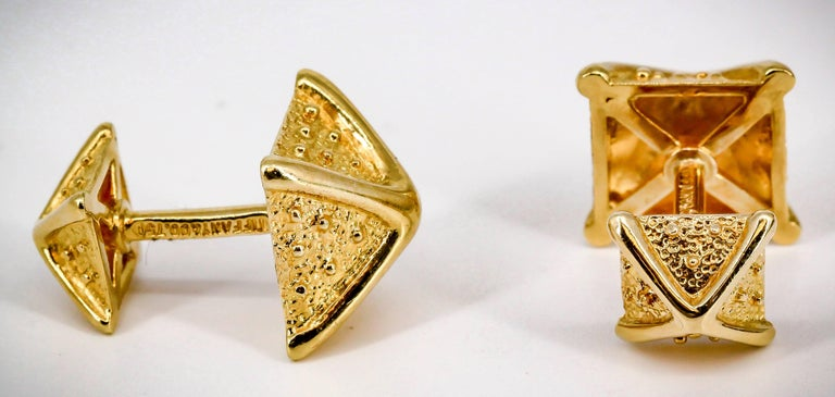Tiffany & Co. Schlumberger Gold Pyramid Cufflinks In Excellent Condition For Sale In New York, NY