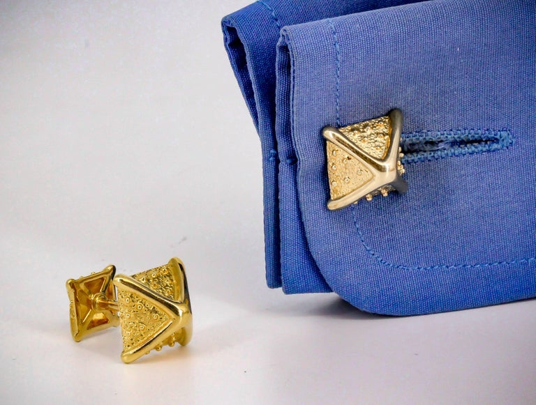 Men's Tiffany & Co. Schlumberger Gold Pyramid Cufflinks For Sale