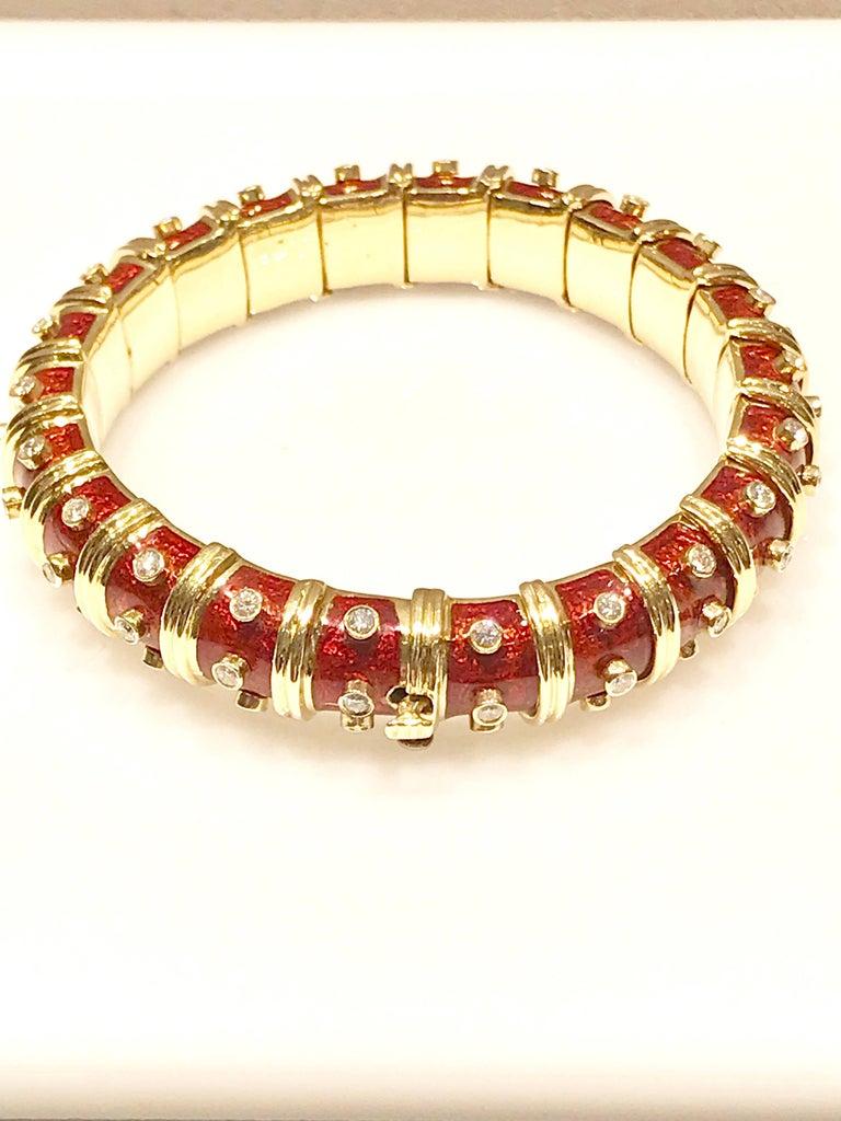 Schlumberger for Tiffany & Co 18 Karat Yellow Gold, Enamel and Diamond Bangle Bracelet.  Signed