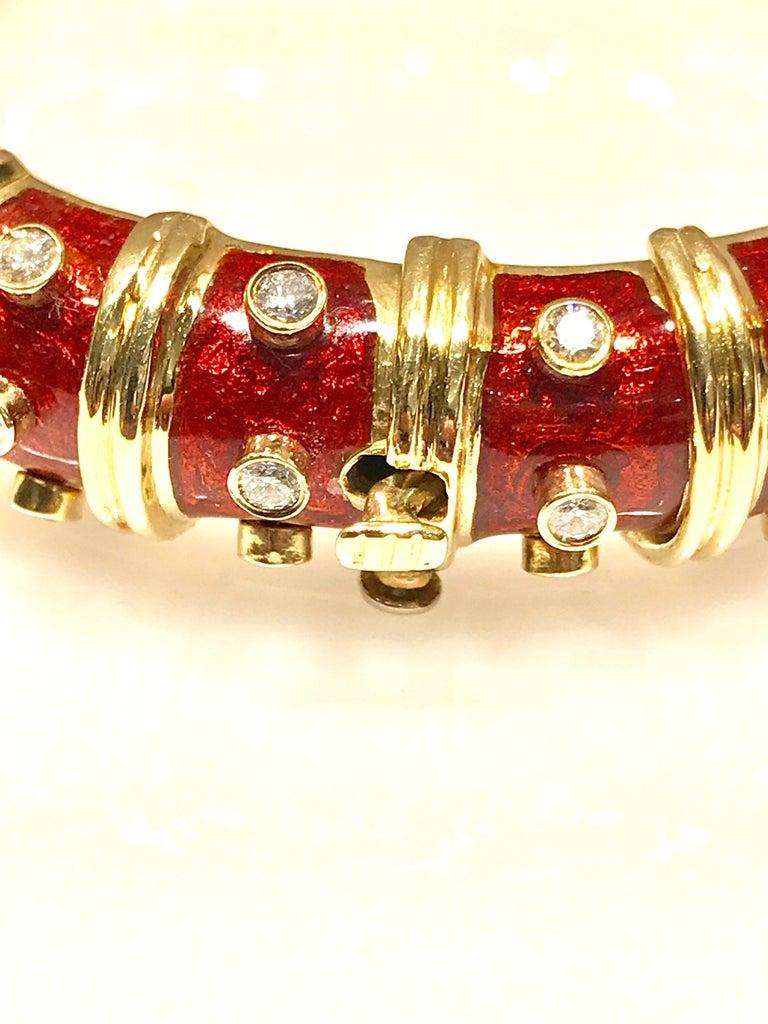 Round Cut Tiffany & Co. Schlumberger Red Enamel and Bezel Set Diamond Bangle Bracelet For Sale