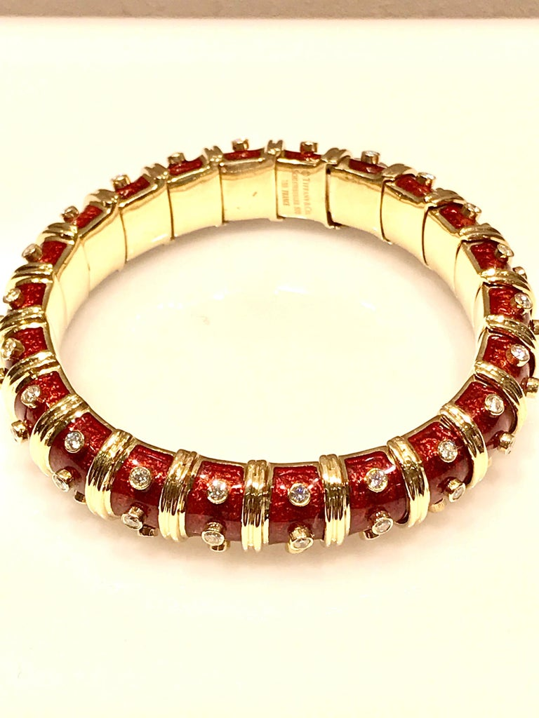 Tiffany & Co. Schlumberger Red Enamel and Bezel Set Diamond Bangle Bracelet In Excellent Condition For Sale In Washington, DC