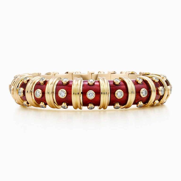 Women's or Men's Tiffany & Co. Schlumberger Red Enamel and Bezel Set Diamond Bangle Bracelet For Sale