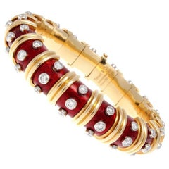 Tiffany & Co. Schlumberger Red Enamel and Bezel Set Diamond Bangle Bracelet