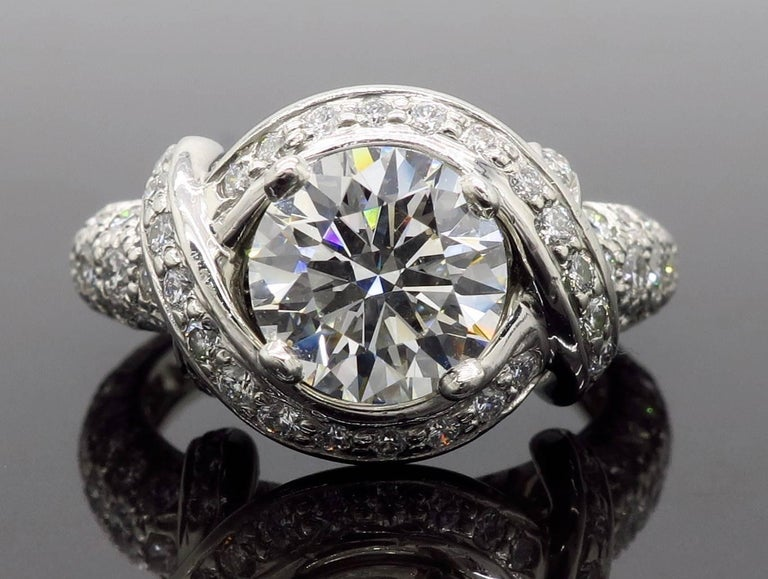 Tiffany & Co. Schlumberger Signature Diamond Platinum Engagement Ring For Sale 7