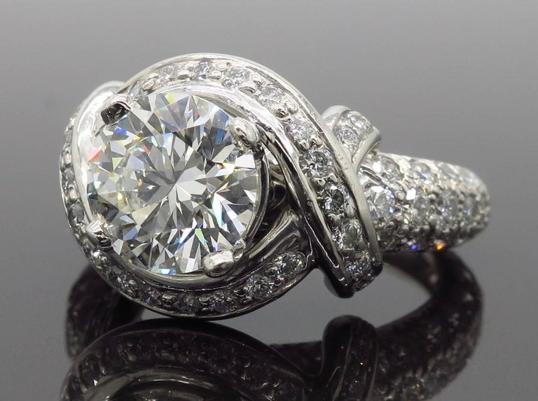 Tiffany & Co. Schlumberger Signature Diamond Platinum Engagement Ring For Sale 8