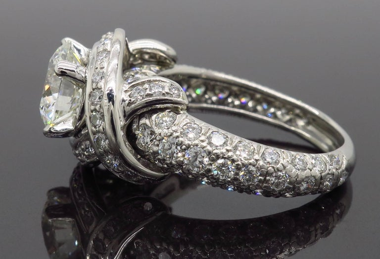 Tiffany & Co. Schlumberger Signature Diamond Platinum Engagement Ring For Sale 9