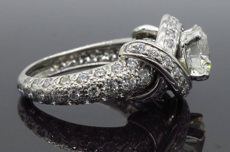 Tiffany & Co. Schlumberger Signature Diamond Platinum Engagement Ring For Sale 11