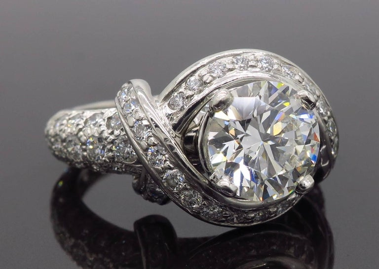 Tiffany & Co. Schlumberger Signature Diamond Platinum Engagement Ring For Sale 12