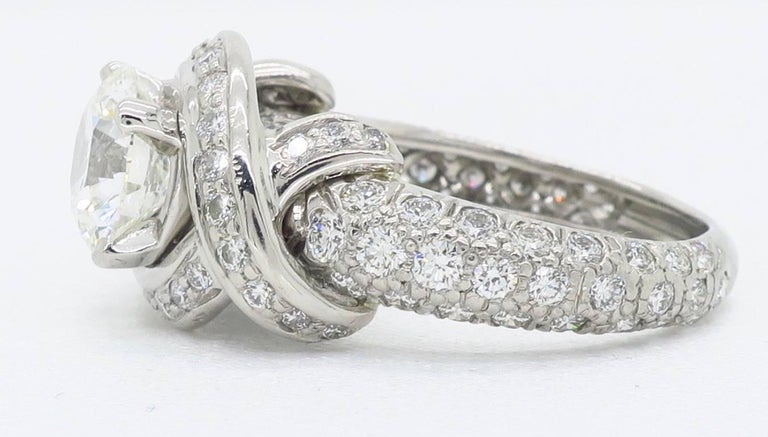 Tiffany & Co. Schlumberger Signature Diamond Platinum Engagement Ring For Sale 3