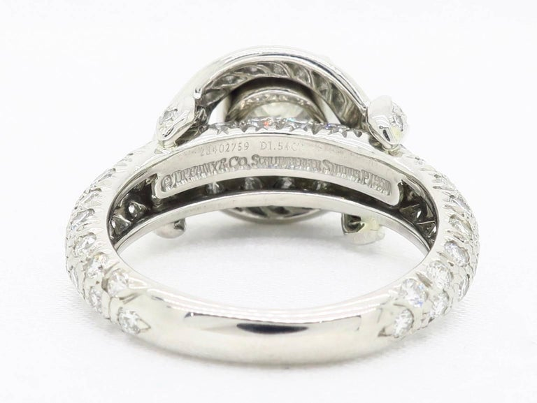 Tiffany & Co. Schlumberger Signature Diamond Platinum Engagement Ring For Sale 4