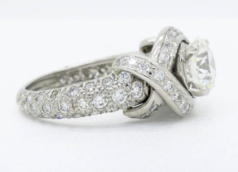 Tiffany & Co. Schlumberger Signature Diamond Platinum Engagement Ring For Sale 5