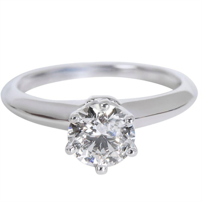 Tiffany & Co. Solitaire Diamond Engagement Ring in Platinum 0.82 Carat