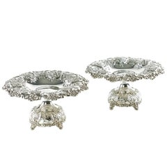 Tiffany & Co Sterling Silver Reticulated Tazzas with Repoussé Floral Decoration