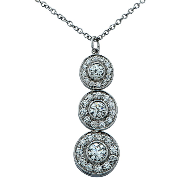 Tiffany & Co. Triple Drop Diamond Platinum Pendant